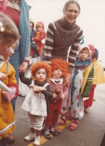 Children in line at the first witches tea about Mangelsen's